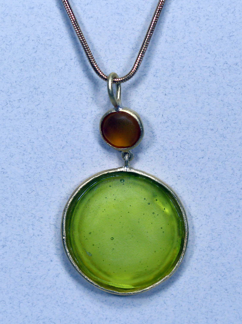 Round Cast Glass Necklace in Amber-Kiwi