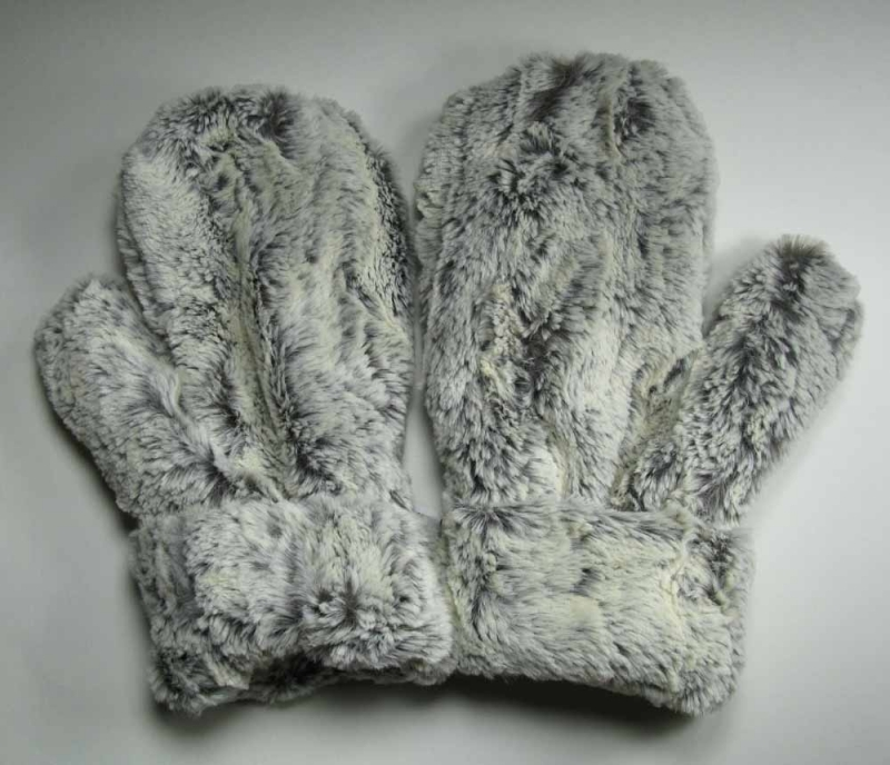 Faux Fur MIttens in Khaki