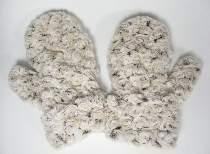 Faux Fur MIttens - Rosebud in Brown