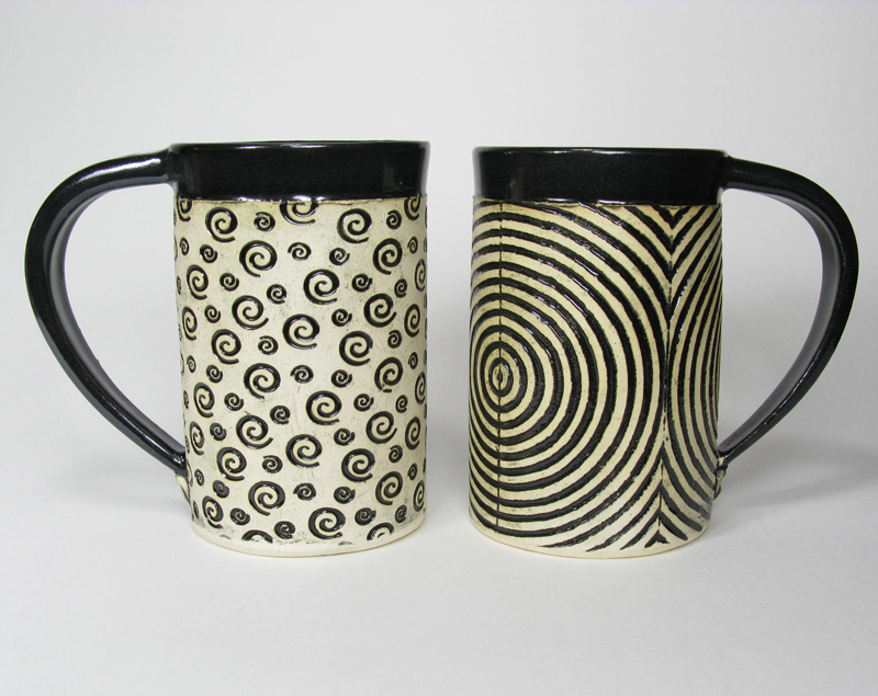 Ceramic Mug - Black White Swirls