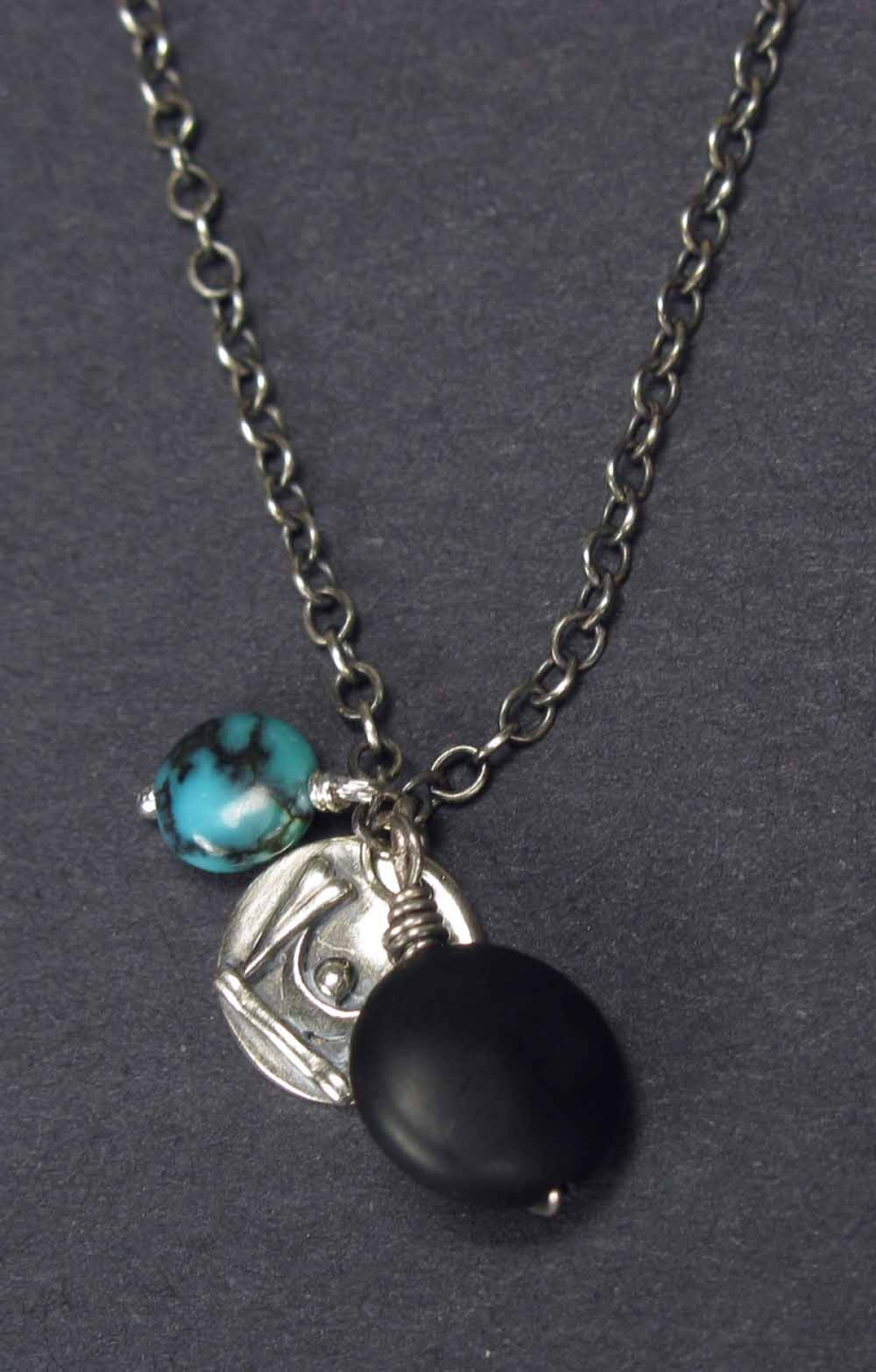 Silver Necklace with Onyx, Turquoise and Silver Dangles