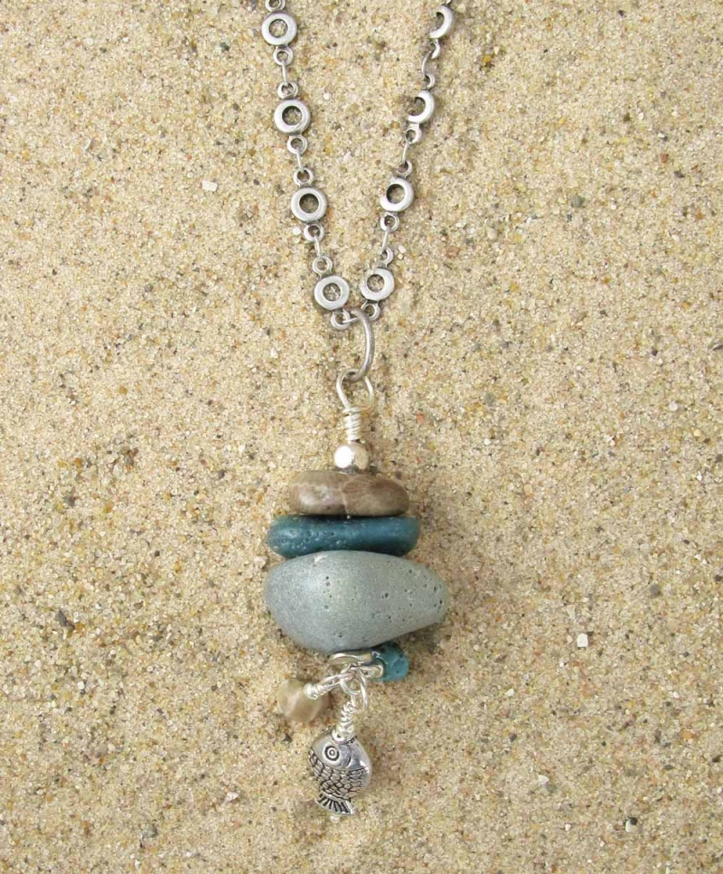 Long Necklace in Petoskey and Leland Blue