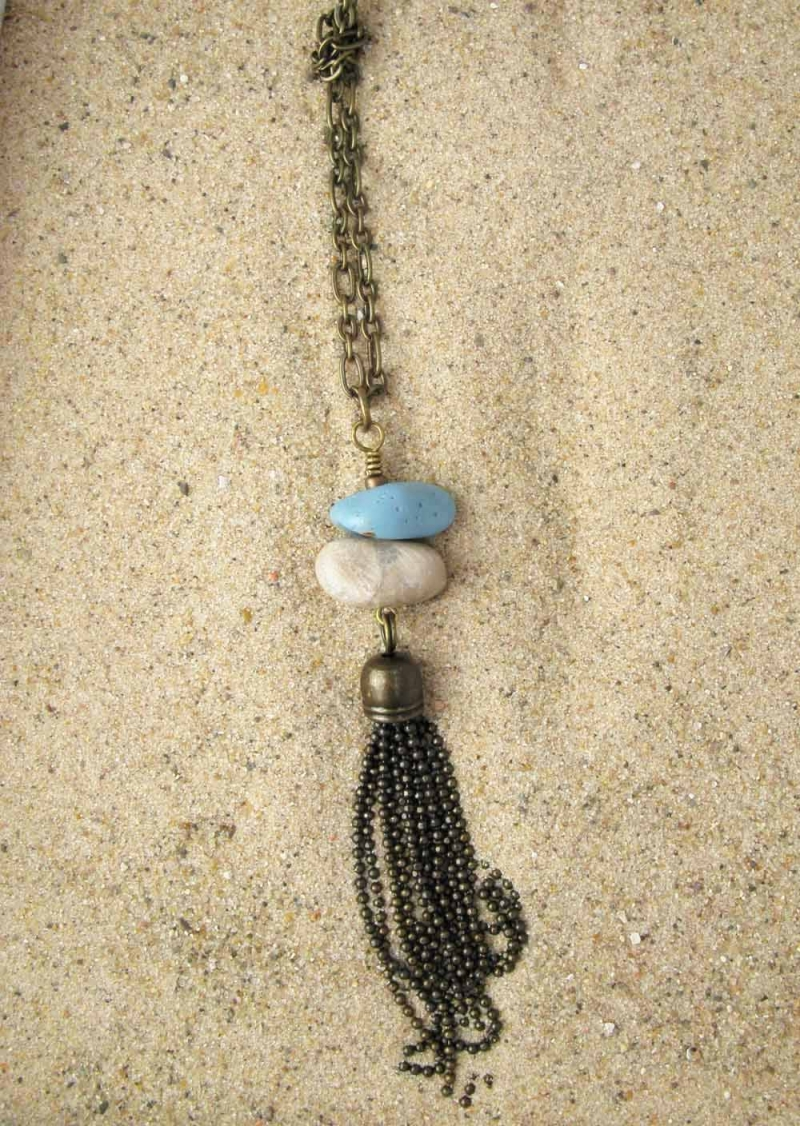Long Necklace in Petoskey and Leland Blue in Bronze