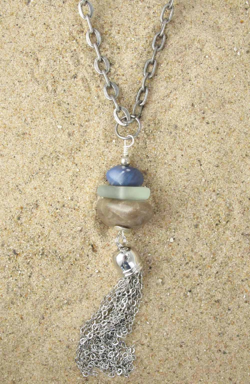 Long Necklace in Trio of Blue, Petoskey and Beach Glass