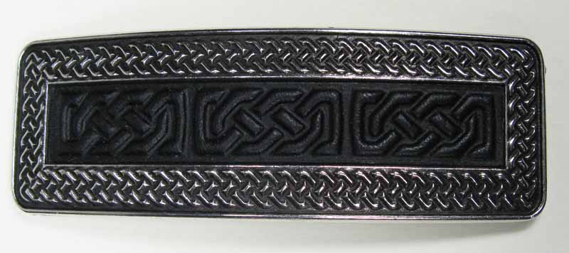 Pewter and Leather Barrette