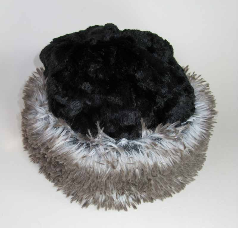 Faux Fur Beanie in Arctic Fox and Black