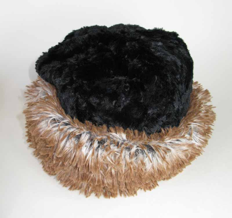 Faux Fur Beanie in Red Fox and Black