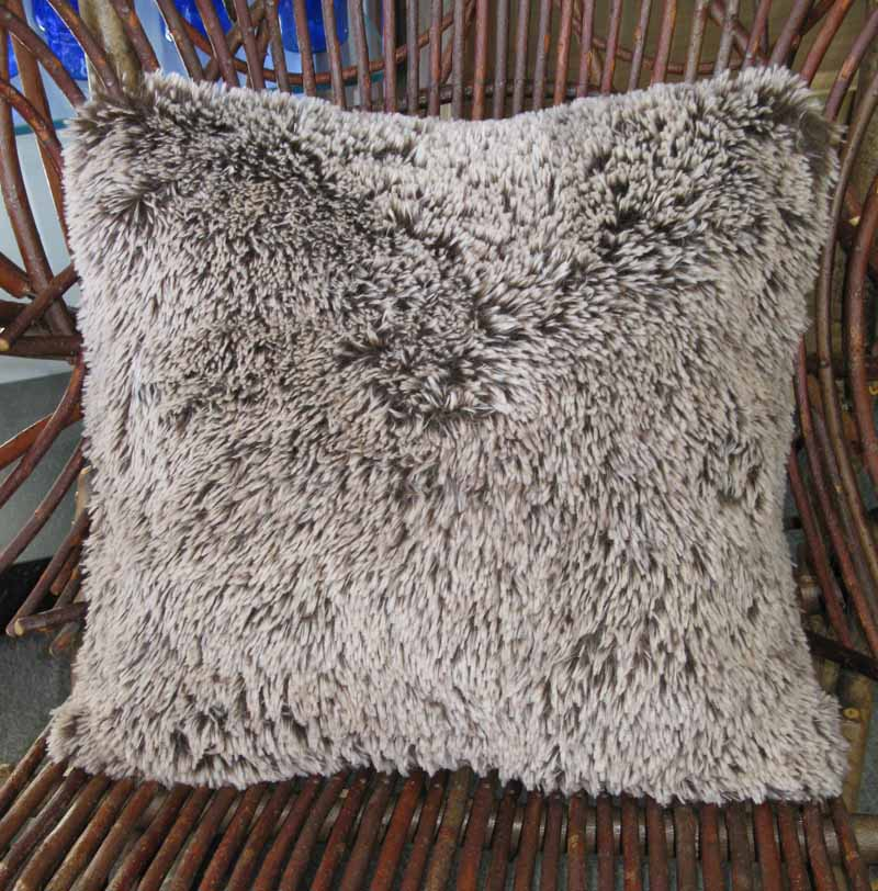Throw Pillow in Silver Tipped Brown Faux Fur