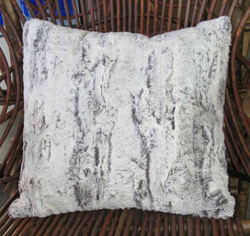 Throw Pillow in Khaki Faux Fur