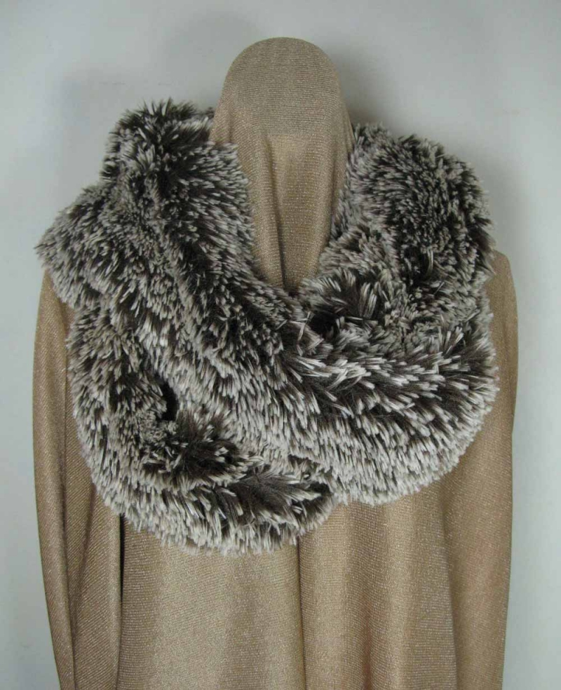 Infinity Scarf in Silver-Tipped Brown Faux Fur