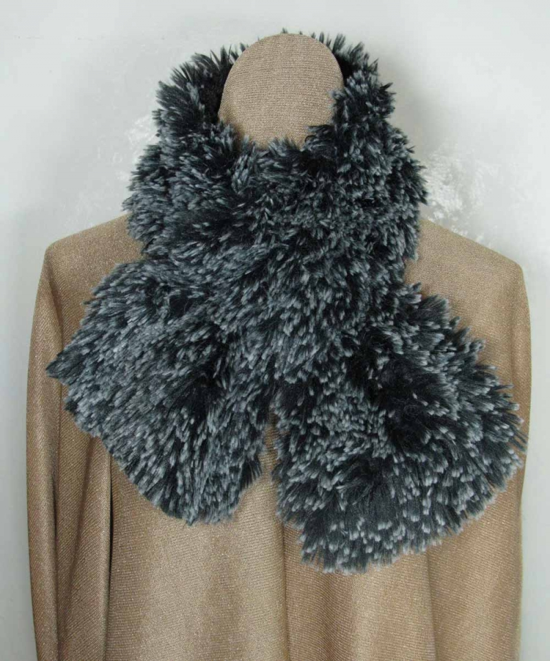 Pull Through Scarf in Black Tipped Fur