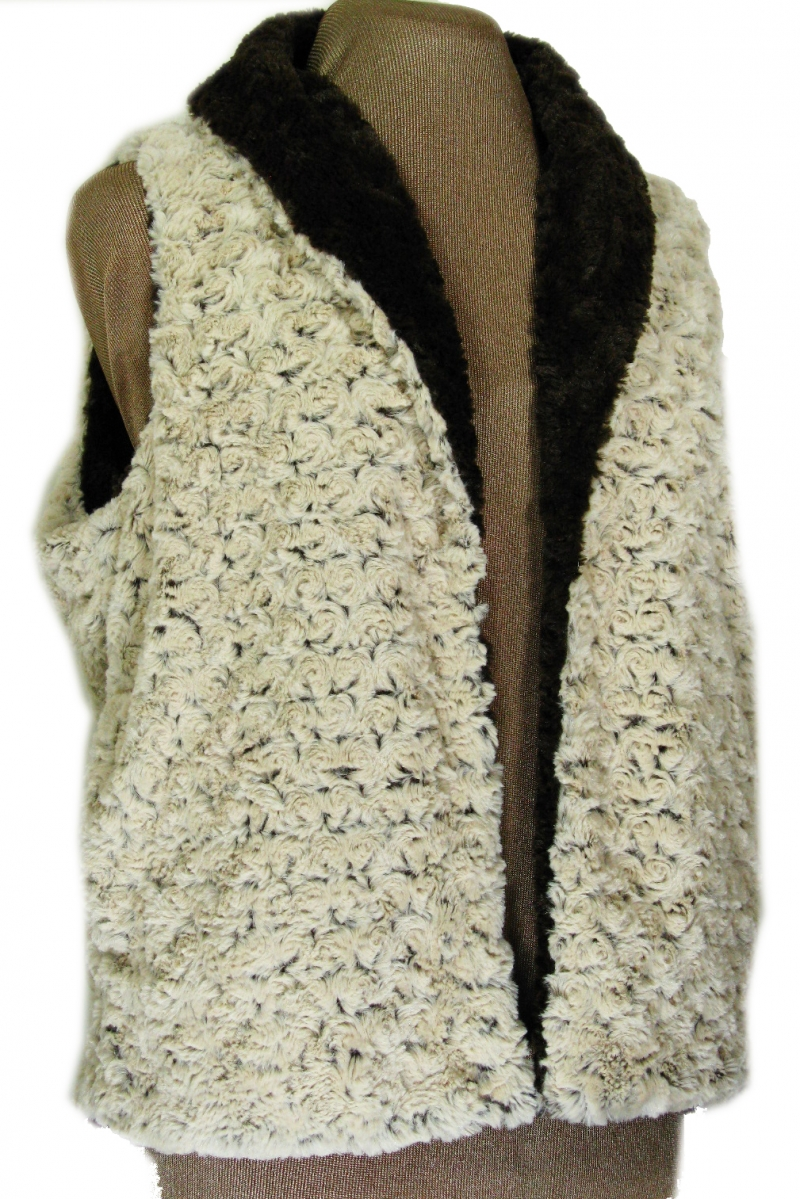 Reversible Vest in Brown Rosebud/Cuddly Brown Faux Fur