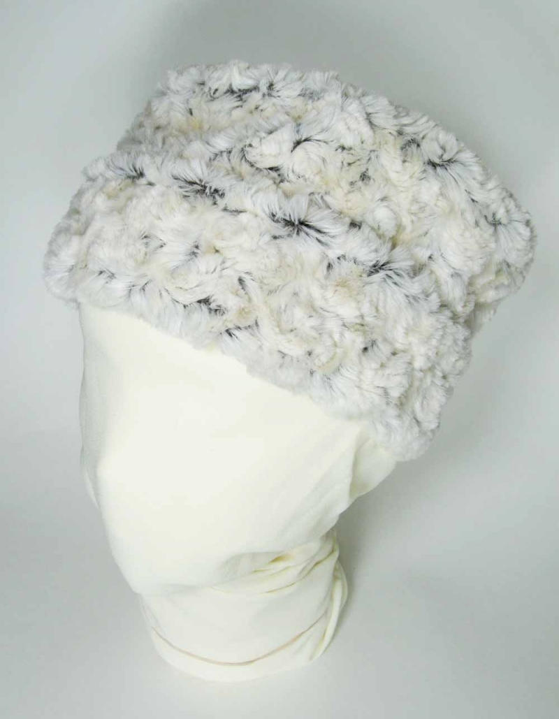 Faux Fur Pillbox Hat in Rosebud Brown