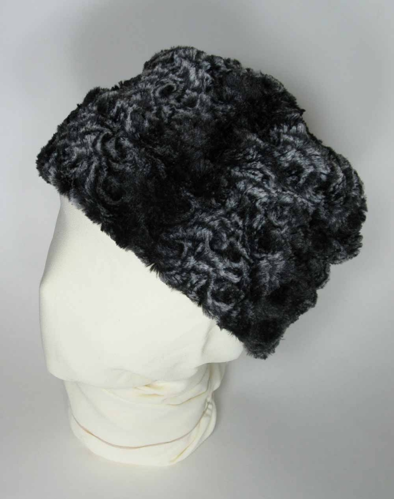 Faux Fur Pillbox Hat in Smokey Essence