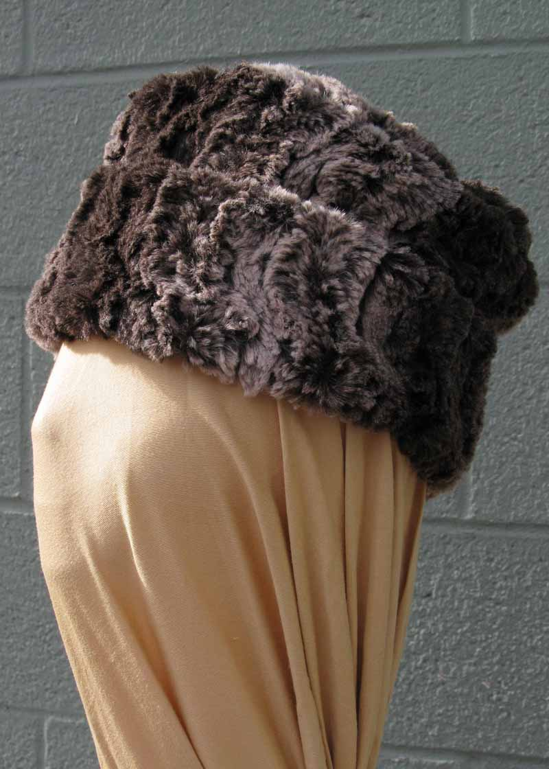 Faux Fur Pillbox Hat in Chinchilla Brown