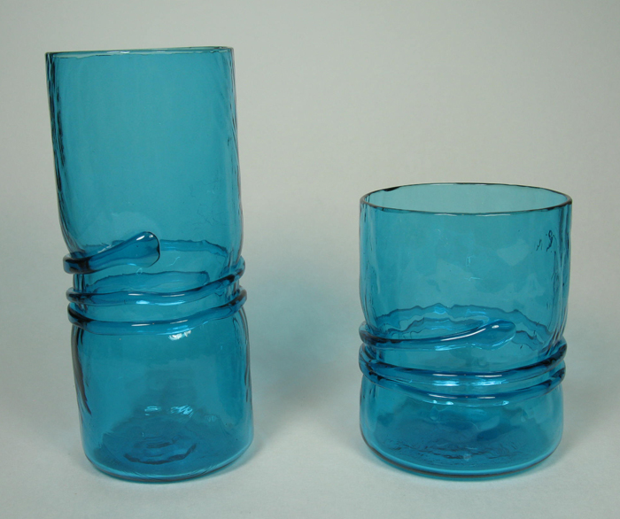 Hand-blown glasses in Aqua