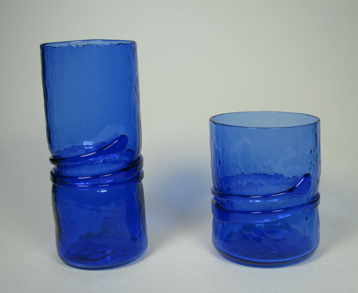 Hand-blown glasses in Blue