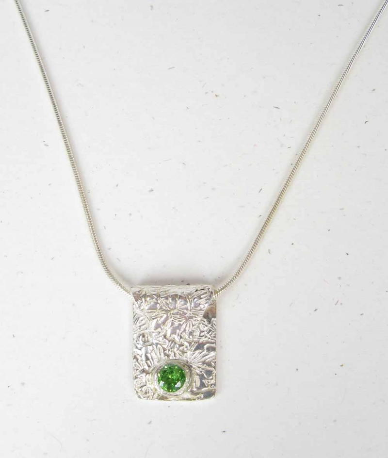 Sterling Silver Necklace in PMC and Peridot
