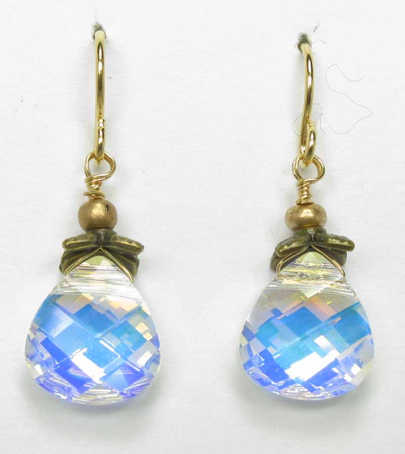 Faceted Briolette Earrings in Crystal
