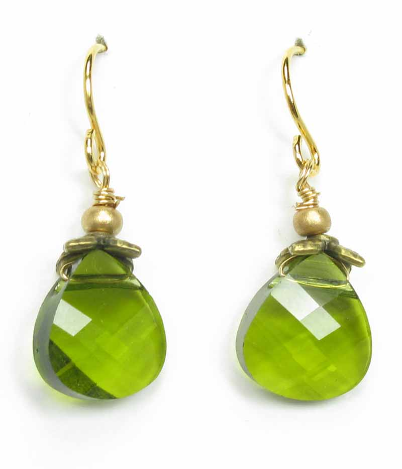 Faceted Briolette Earrings in Olive