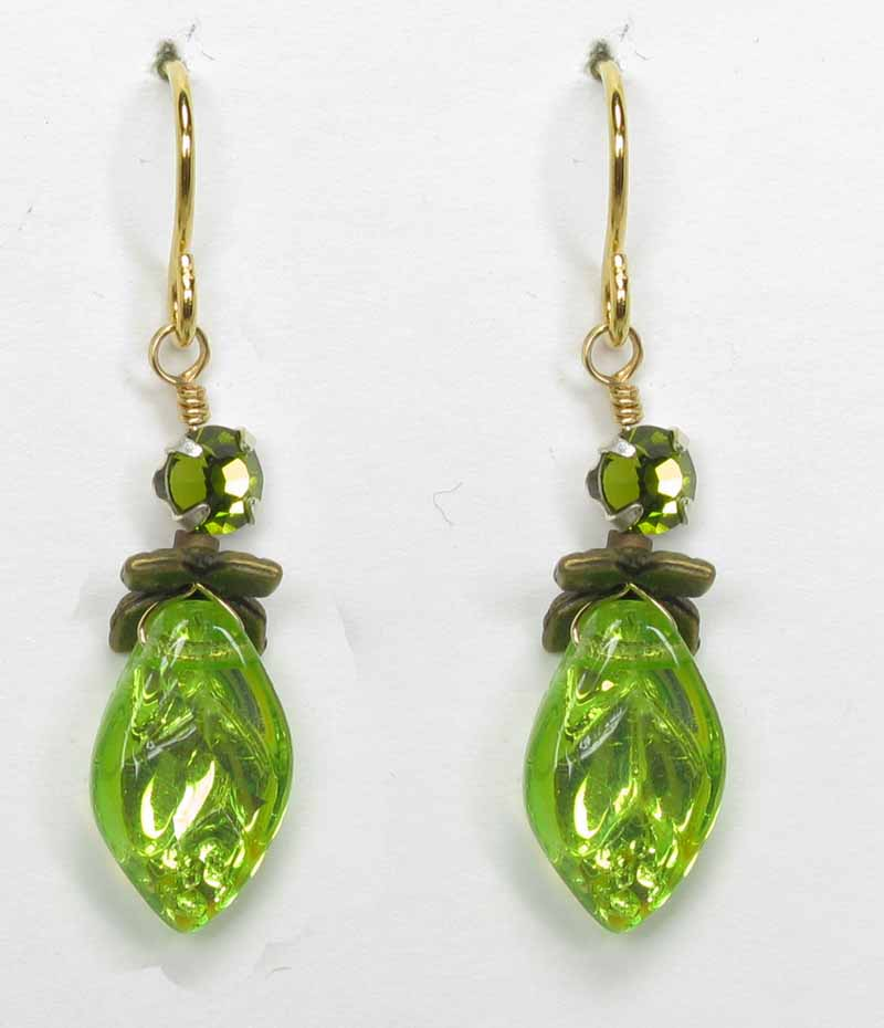 Tiny Leaf Earrings in Olive