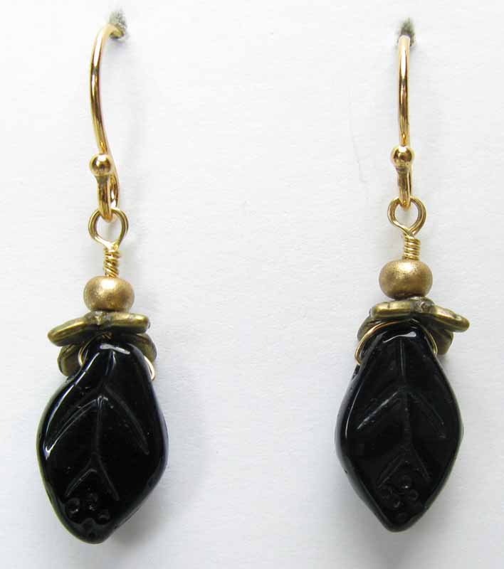 Tiny Leaf Earrings in Onyx