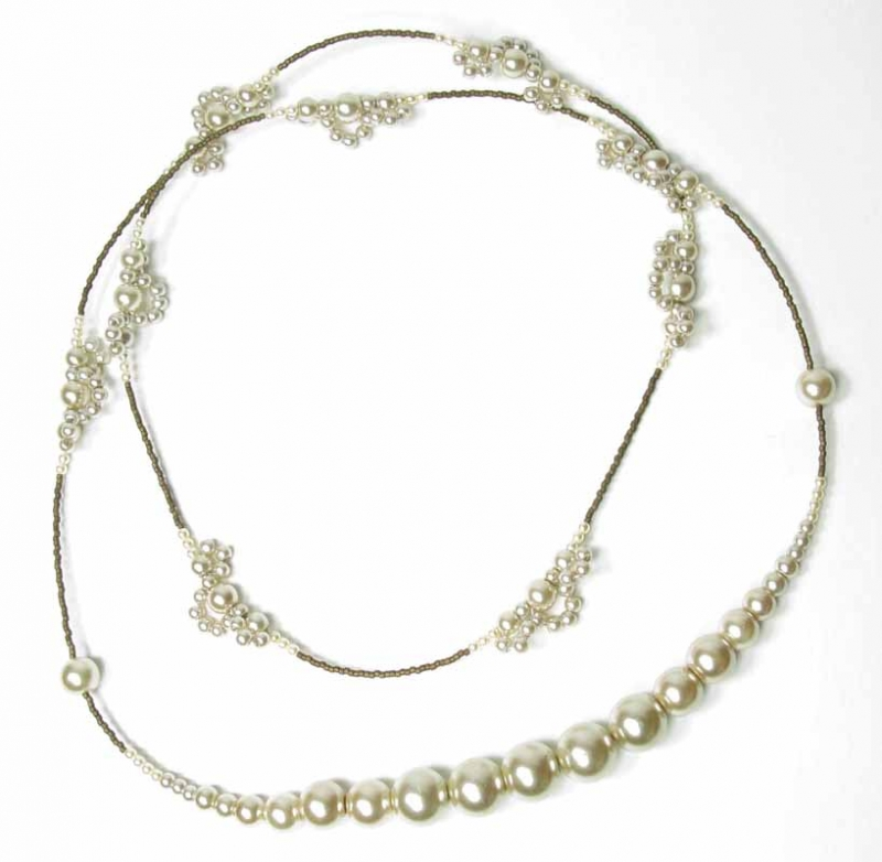 Long Lace Pearl Necklace in Almond Pearls