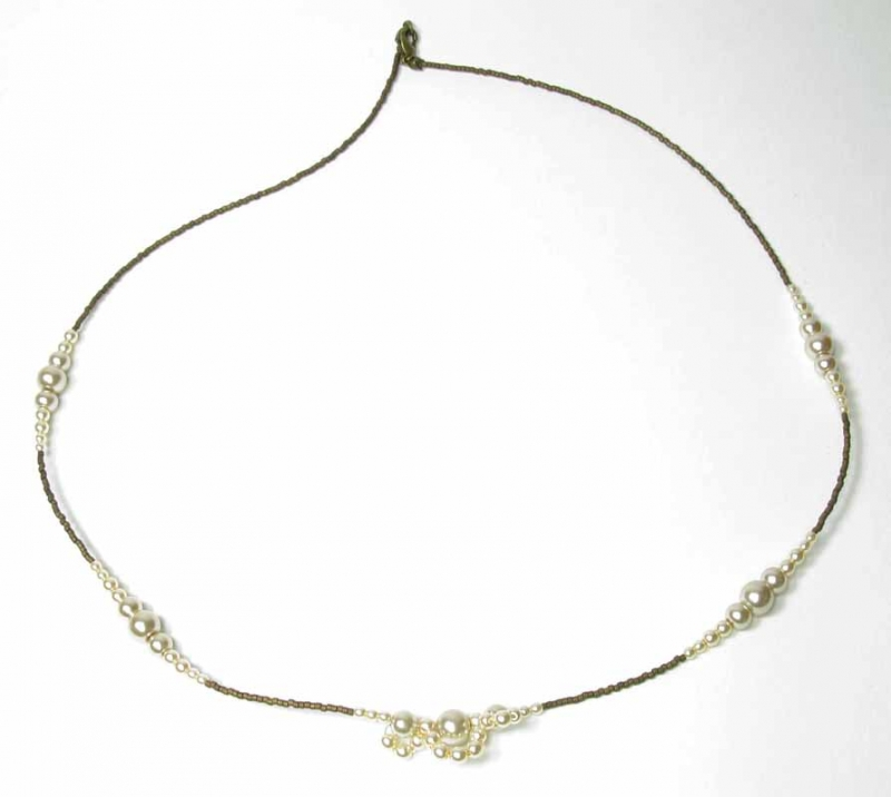 Layering Lace Pearl Necklace in Almond Pearls