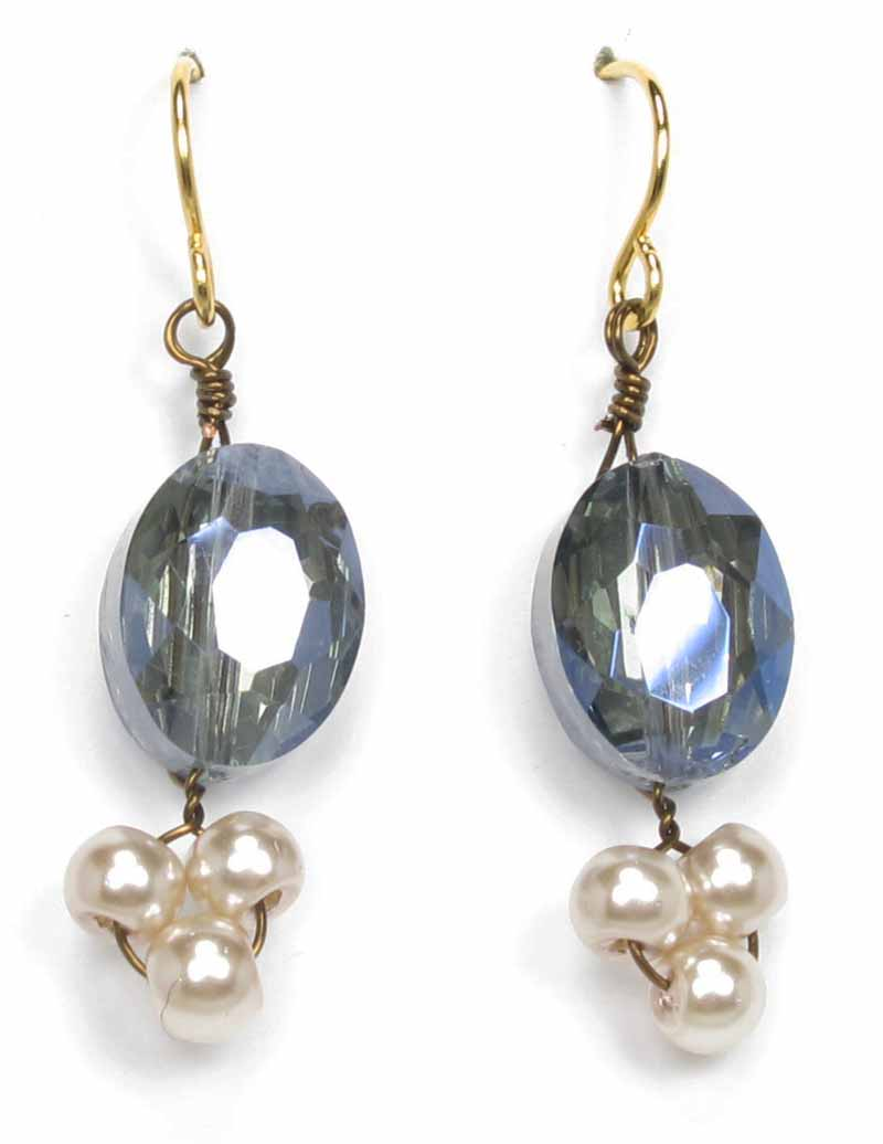 Faceted Crystal and Pearl Earrings