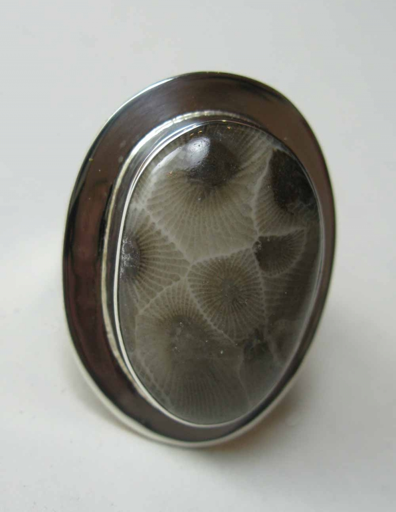 Petoskey Stone Ring in Sterling Frame