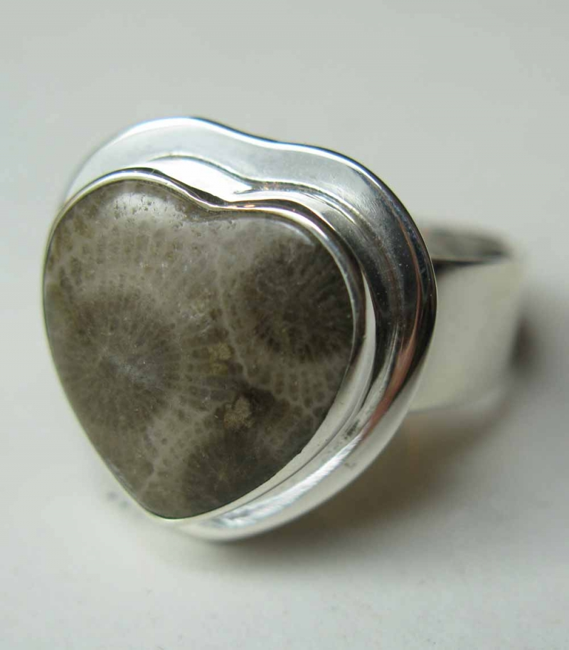 Heart-Shaped Petoskey Stone Ring