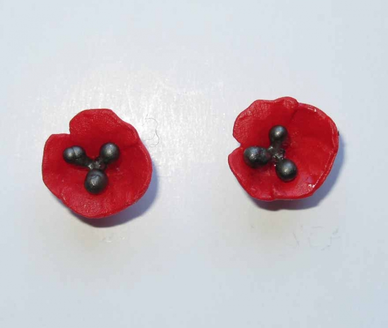 Red Poppy Earrings in Cast Glass