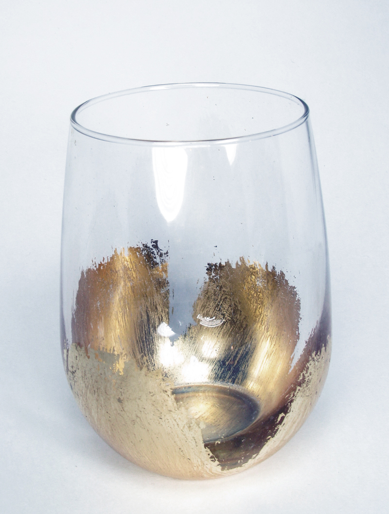 Gold Leaf Stemless Wine Glass