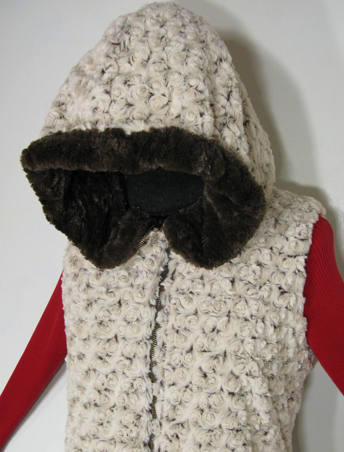 Reversible Hoodie Vest in Brown Rosebud/Cuddly Brown Faux Fur