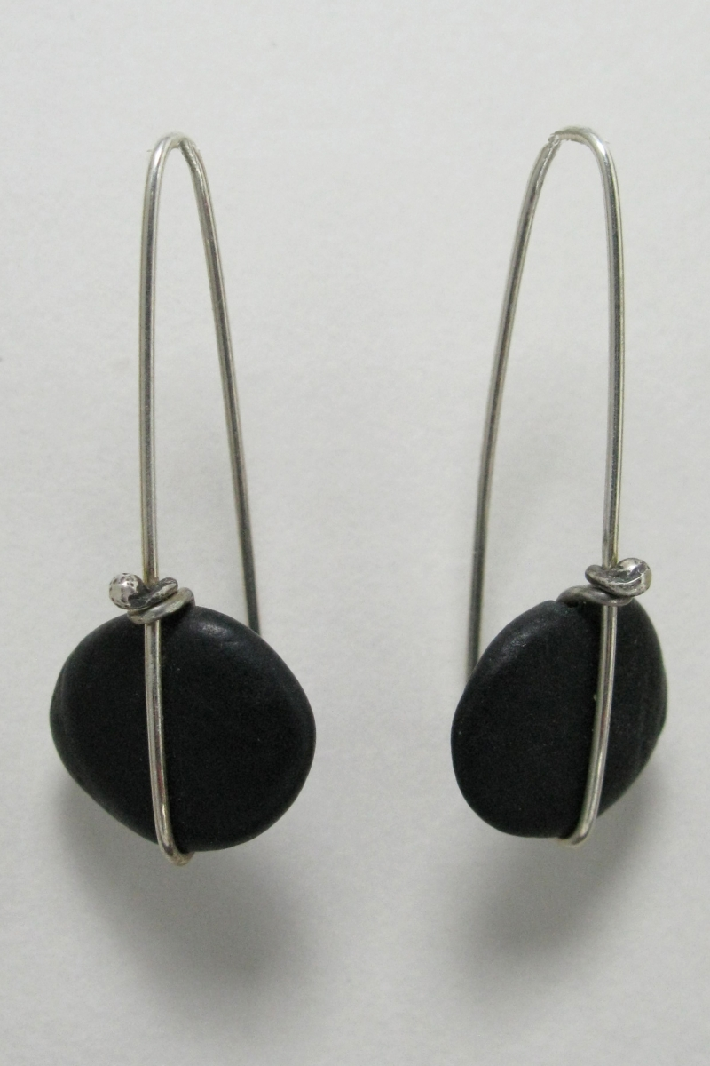 Beach Stone  Earring Simple Wrap - long