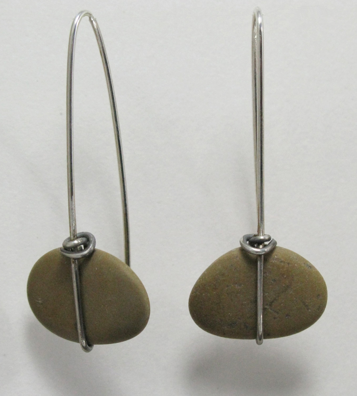 Beach Stone Wrap Earring - Small