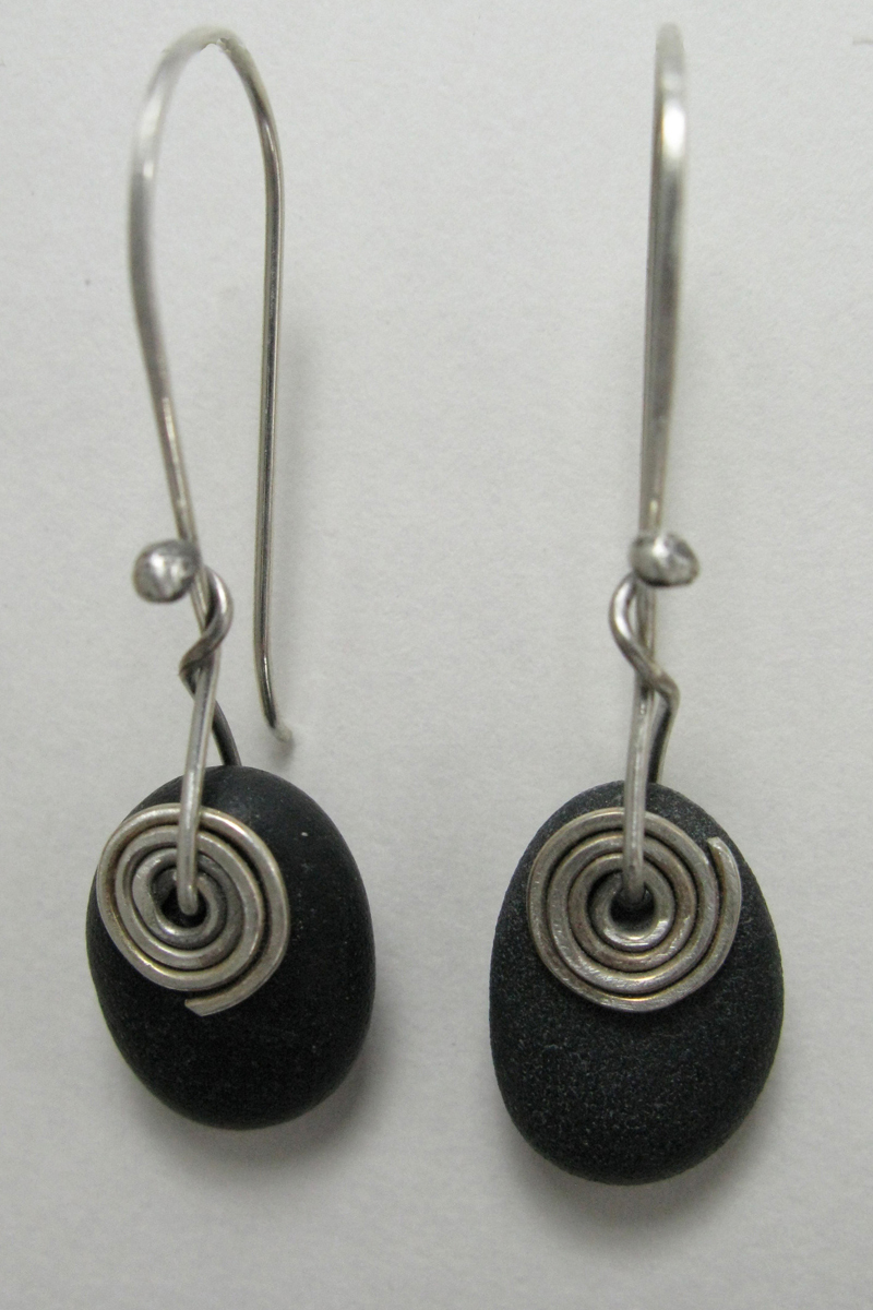 Beach Stone Earrings - Spiral on Hook