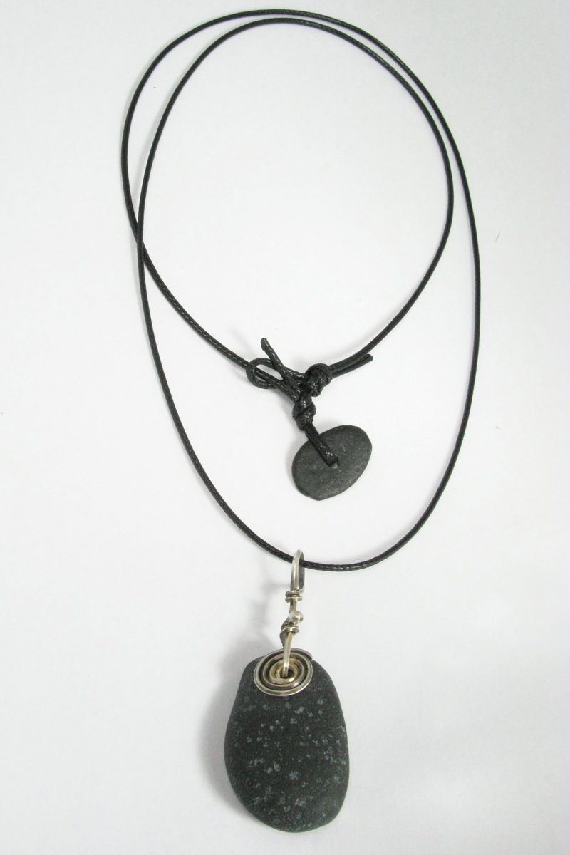 Beach Stone Necklace on Cord