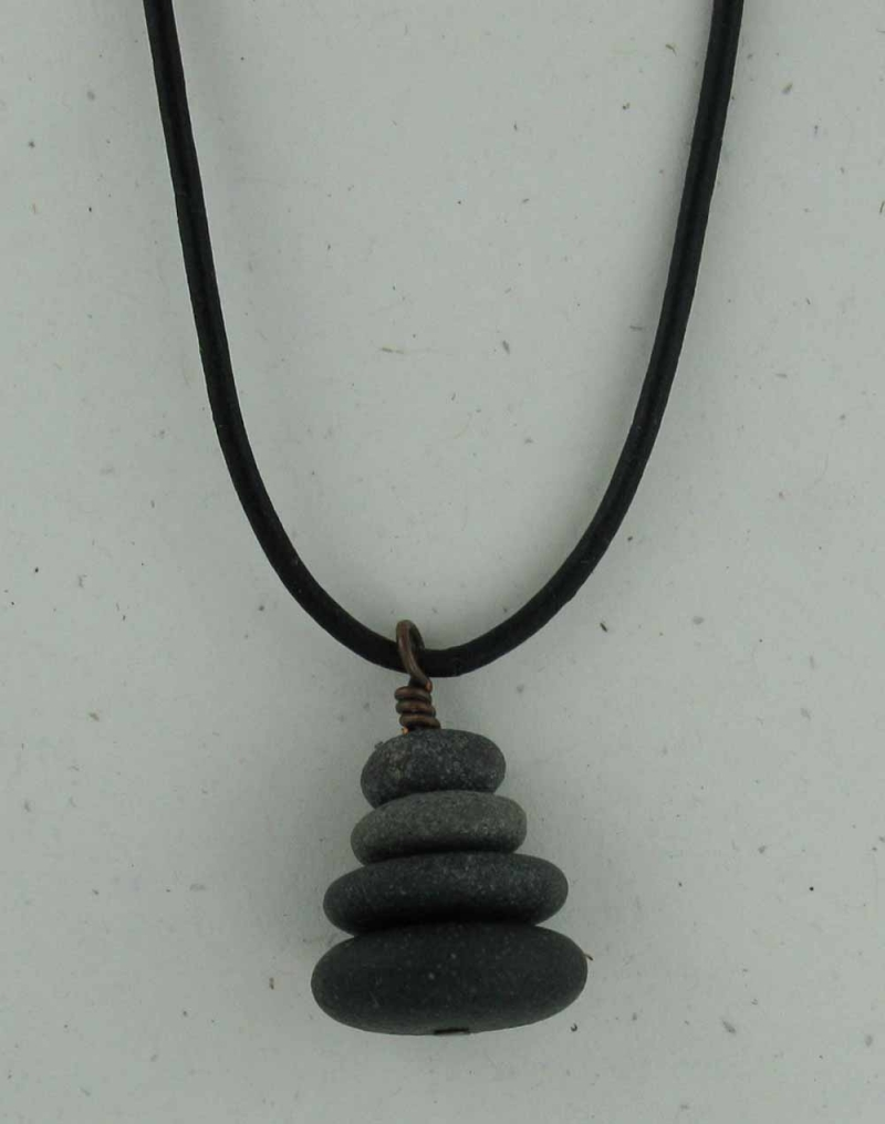 Stone Cairn Necklace on Leather